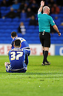 Cardiff City's Tom Lawrence (37) sits dejected as the referee blows the final whistle. Skybet football league championship match, Cardiff city v MK Dons at the Cardiff city stadium in Cardiff, South Wales on Saturday 6th February 2016.<br /> pic by Carl Robertson, Andrew Orchard sports photography.