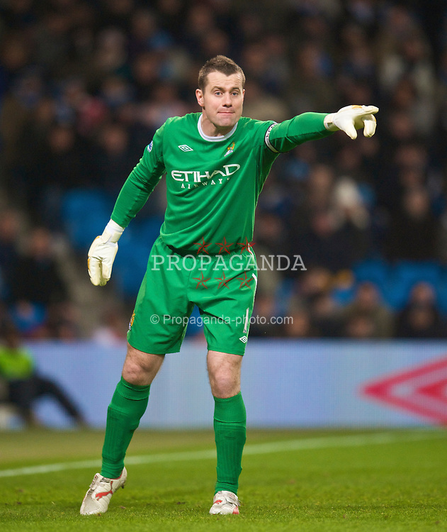 MANCHESTER, ENGLAND - Monday, January 11, 2010: Manchester City's goalkeeper Shay Given in action against Blackburn Rovers during the Premiership match at the City of Manchester Stadium. (Photo by David Rawcliffe/Propaganda)
