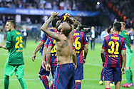 Barcelona Daniel Alves celebrates during the Champions League Final between Juventus FC and FC Barcelona at the Olympiastadion, Berlin, Germany on 6 June 2015. Photo by Phil Duncan.
