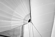 Sail detail of Sir Michael Briggs' Mikado competing in Cowes during the Panerai British Classic Sailing Week regatta. <br /> Picture date: Monday July 10, 2017.<br /> Photograph by Christopher Ison ©<br /> 07544044177<br /> chris@christopherison.com<br /> www.christopherison.com