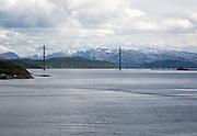 Large concrete cantilever road bridge crossing fiord at Helgeland Bridge, Sandnessjoen, Nordland, Norway