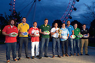 From left to right rugby legends Adam Jones of Wales, James Horwill of Australia, Andrew, Yasutaro Matsuki of Japan, Bob Skinstad of South Africa, Jason Robinson of England, Gonzalo Camacho of Argentina, Marco Bortolami of Italy, Gordon D'Arcy of Ireland and Andrew Mehrtens of New Zealand pose with the Web Ellis Trophy. RWC 2015, Coca Cola London Eye launch for the Rugby World cup event  in London on Tuesday 15th Sept  2015.<br /> pic by John Patrick Fletcher, Andrew Orchard sports photography.