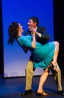 """Tamara McGonagle and Rodney Martell as Arlene and Alan kick up their heels on stage during dress rehearsal for """"Baby"""" the musical at the Winnipesaukee Playhouse Monday evening.  (Karen Bobotas/for the Laconia Daily Sun)"""