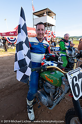 Brian Lehfeldt (no. 67w) and his vintage BSA after winning in the Spirit of Sturgis races at the fairgrounds during the Sturgis Black Hills Motorcycle Rally. Sturgis, SD, USA. Monday, August 5, 2019. Photography ©2019 Michael Lichter.