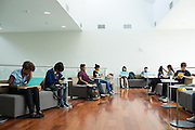 Students fill the new Student Union West Wing to eat, study, and relax during the first day of classes at San Jose State University in San Jose, California, on August 25, 2014. (Stan Olszewski/SOSKIphoto)