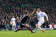 England's Wayne Rooney scoring his sides third goal<br /> <br /> - International Friendly - Scotland vs England- Celtic Park - Glasgow - Scotland - 18th November 2014  - Picture David Klein/Sportimage
