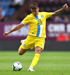 """Espanyol's Hernan Perez has a shot at goal during the pre-season friendly match at Turf Moor, Burnley. PRESS ASSOCIATION Photo. Picture date: Sunday August 5, 2018. See PA story SOCCER Burnley. Photo credit should read: Anthony Devlin/PA Wire. RESTRICTIONS: EDITORIAL USE ONLY No use with unauthorised audio, video, data, fixture lists, club/league logos or """"live"""" services. Online in-match use limited to 75 images, no video emulation. No use in betting, games or single club/league/player publications."""
