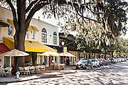 Historic downtown shops along Park Avenue in Winter Park, Florida.