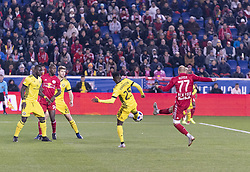 STYLEPREPENDDaniel Royer (77) of Red Bulls & Harrison Afful (25) of Columbus Crew SC fight for ball during 2nd leg MLS Cup Eastern Conference semifinal game at Red Bul Arena Red Bulls won 3 - 0 agregate 3 - 1 and progessed to final  (Credit Image: © Lev Radin/Pacific Press via ZUMA Wire)