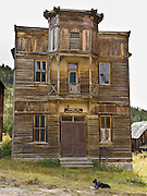 Fraternity Hall was built in 1890s Montana for shows, dances, and lodge meetings. Two original buildings, outstanding examples of American frontier architecture, are preserved and open to the public as Elkhorn State Park (managed by the Montana Department of Fish, Wildlife, and Parks; and recorded in the Historic American Buildings Survey). The silver, gold and lead mines at Elkhorn began booming in 1875, then declined in 1892 as silver prices dropped. A few miners still work the Elkhorn mines and live in private homes nearby, within Beaverhead-Deerlodge National Forest. Directions: I-15 at Boulder exit, 7 miles south on Montana 69, then 11 miles north on county graveled road.  (Lat 46.275,  Lng  -111.946)