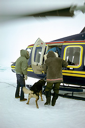North Slope Borough Rescue Helicopter Loading Dog & People During Rescue From Broken Off Floating Ice Sheet