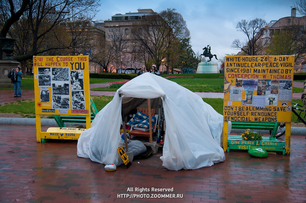 Antinuclear protest tent near the White House in Washington DC