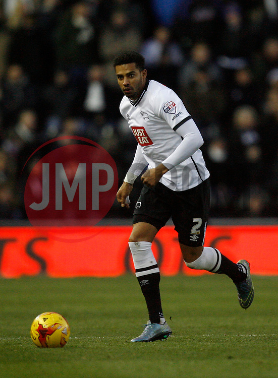 Cyrus Christie of Derby County in action - Mandatory byline: Jack Phillips / JMP - 07966386802 - 21/11/2015 - FOOTBALL - The iPro Stadium - Derby, Derbyshire - Derby County v Cardiff City - Sky Bet Championship