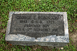 26 August 2017:   A part of the History of McLean County Illinois.<br /> <br /> Tombstones in Evergreen Memorial Cemetery.  Civic leaders, soldiers, and other prominent people are featured.<br /> <br /> Section 16 - Veterans Section<br /> George E Robinson<br /> 1843 GAR 1923<br /> Drummer Boy<br /> Co A 3rd Vermont INF