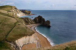 Durdle Door viewed from the top of Swyre Head on the Jurassic Coast, Dorset, England, UK.