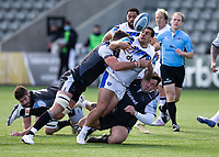 Rugby Union - 2020 / 2021 Gallagher Premiership - Round 13 - Newcastle Falcons vs Bath - Kingston Park<br /> <br /> Josh Matavesi of Bath is tackled by Darren Barry of Newcastle Falcons<br /> <br /> Credit : COLORSPORT/BRUCE WHITE