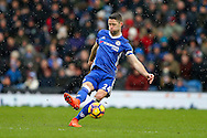 Gary Cahill of Chelsea in action. Premier league match, Burnley v Chelsea at Turf Moor in Burnley, Lancs on Sunday 12th February 2017.<br /> pic by Chris Stading, Andrew Orchard Sports Photography.