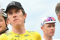 July 20, 2018 - Valence, FRANCE - British Geraint Thomas of Team Sky wearing the yellow jersey of overal leader and British Chris Froome of Team Sky pictured at the start of the 13th stage in the 105th edition of the Tour de France cycling race, from Bourg d'Oisans to Valence (169,5 km), France, Friday 20 July 2018. This year's Tour de France takes place from July 7th to July 29th...BELGA PHOTO DAVID STOCKMAN (Credit Image: © David Stockman/Belga via ZUMA Press)
