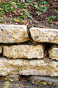 During deconstruction of the old building the cement floor was cut up and used to create a retaining wall.