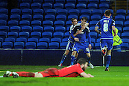 Cardiff City's Joe Mason (c) celebrates after scoring his teams 1st goal with team mates Craig Noone (l) and Joe Ralls (r). Skybet football league championship match, Cardiff city v Blackburn Rovers at the Cardiff city stadium in Cardiff, South Wales on Saturday 2nd Jan 2016.<br /> pic by Carl Robertson, Andrew Orchard sports photography.