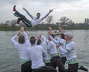 Putney. London.  2004 University Boat Race,  Championships Course, Putney to Mortlake. <br /> CUBC. Bow. C le Neve Foster, K Coventry,   H Mallinson, Seb Mayer, A Shannon, Steffan Buschbacher,  *Wayne Pommen, N Kirk, and  Cox K Richardson, <br /> OUBC. Bow. C Kennelly,  B G Dixon,  A Stubbs, ; J Scrogin, Pete Reed, ; David Livingston, 1 H Morris,  Colin Smith,  Acer Nethercott, <br /> <br /> [Mandatory Credit Peter SPURRIER]