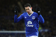 Bryan Oviedo of Everton tries to get the fans going. Barclays Premier League match, Everton v Newcastle United at Goodison Park in Liverpool on Wednesday 3rd February 2016.<br /> pic by Chris Stading, Andrew Orchard sports photography.