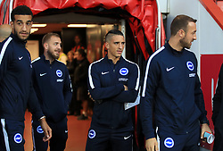 Brighton & Hove Albion's Anthony Knockaert (centre) before the Premier League match at the Vitality Stadium, Bournemouth.