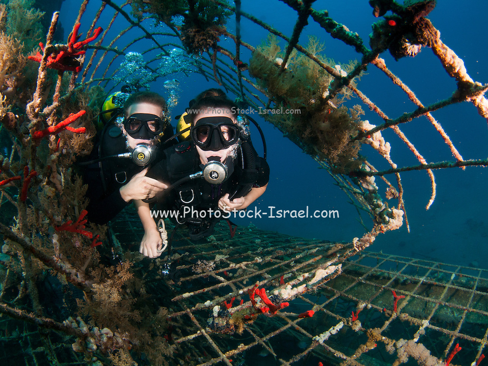 Israeli Navy divers checking  the Naval harbour for mines and enemy activity. Photographed in the military naval base in Eilat, Israel
