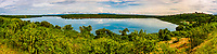 Panoramic view of the Kazinga Channel, Queen Elizabeth National Park, Uganda. The channel is a wide, 32-kilometre long natural channel that links Lake Edward and Lake George.