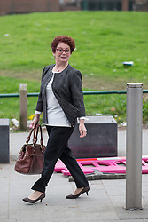 © Licensed to London News Pictures . 20/09/2014 . Manchester , UK . A Outgoing Salford MP Hazel Blears leaves the service . Departures at the funeral of Heywood and Middleton MP Jim Dobbin at Salford Cathedral today (Saturday 20th September 2014) . Photo credit : Joel Goodman/LNP