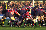 Gloucester, Gloucestershire, UK., 04.01.2003, Andy GOMERSALL's flying pass from the back of the scrum, during, Zurich Premiership Rugby match, Gloucester vs London Wasps,  Kingsholm Stadium,  [Mandatory Credit: Peter Spurrier/Intersport Images],