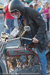 Denis Sharon after crossing the finish line at the end of the first day of the Motorcycle Cannonball Race of the Century. Stage-1 from Atlantic City, NJ to York, PA. USA. Saturday September 10, 2016. Photography ©2016 Michael Lichter.