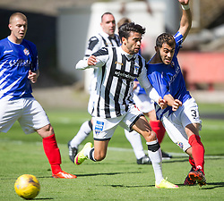 Dunfermline's Faissal El Bahktaoui and Cowdenbeath's Mohammed Yakud. . <br /> Dunfermline 7 v 1 Cowdenbeath, SPFL Ladbrokes League Division One game played 15/8/2015 at East End Park.