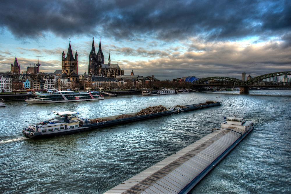 Barges on the Rhein in Köln