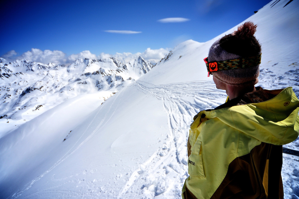 Gus Mournet looking for the next perfect line in the magical Pyrenees backcountry terrain.