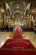 The Manila Cathedral, also known as the Minor Basilica of the Immaculate Conception, was the seat of the Archbishop of Manila during the Spanish colonial period in the Philippines, and still remains the ecclesiastical seat of the Archdiocese of Manila.. .Photo by Jason Doiy.6-15-08