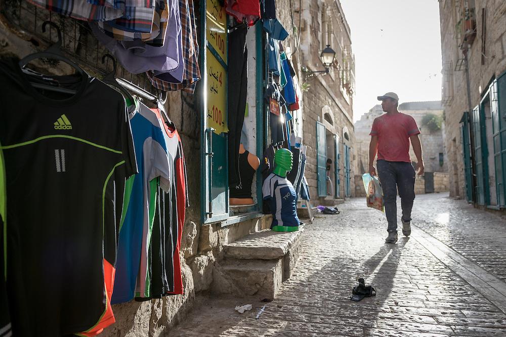 2 May 2016, Bethlehem, Palestine: A man walks on a street in Bethlehem.