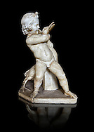 Roman statue of a Boy strangling a goose, a Roman copy of a late 3rd century Hellenistic bronze statue attributed to Boethos. Excavated from the Villa dei Quintilli on the Appian Way, inv 2655, Vatican Museum Rome, Italy,  black background ..<br /> <br /> If you prefer to buy from our ALAMY STOCK LIBRARY page at https://www.alamy.com/portfolio/paul-williams-funkystock/greco-roman-sculptures.html . Type -    Vatican    - into LOWER SEARCH WITHIN GALLERY box - Refine search by adding a subject, place, background colour, museum etc.<br /> <br /> Visit our CLASSICAL WORLD HISTORIC SITES PHOTO COLLECTIONS for more photos to download or buy as wall art prints https://funkystock.photoshelter.com/gallery-collection/The-Romans-Art-Artefacts-Antiquities-Historic-Sites-Pictures-Images/C0000r2uLJJo9_s0c