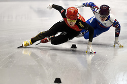 February 8, 2019 - Torino, Italia - Foto LaPresse/Nicolò Campo .8/02/2019 Torino (Italia) .Sport.ISU World Cup Short Track Torino - 500 meter Men Preliminaries.Nella foto: Haidong Jia, Daniil Eybog..Photo LaPresse/Nicolò Campo .February 8, 2019 Turin (Italy) .Sport.ISU World Cup Short Track Turin - 500 meter Men Preliminaries.In the picture: Haidong Jia, Daniil Eybog (Credit Image: © Nicolò Campo/Lapresse via ZUMA Press)