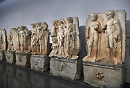 Interior of Aphrodisias Museum, showing Roman Sebastian relief sculptures,   Aphrodisias, Turkey. .<br /> <br /> If you prefer to buy from our ALAMY STOCK LIBRARY page at https://www.alamy.com/portfolio/paul-williams-funkystock/greco-roman-sculptures.html . Type -    Aphrodisias     - into LOWER SEARCH WITHIN GALLERY box - Refine search by adding a subject, place, background colour, museum etc.<br /> <br /> Visit our ROMAN WORLD PHOTO COLLECTIONS for more photos to download or buy as wall art prints https://funkystock.photoshelter.com/gallery-collection/The-Romans-Art-Artefacts-Antiquities-Historic-Sites-Pictures-Images/C0000r2uLJJo9_s0