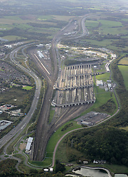 Image ©Licensed to i-Images Picture Agency. Aerial views. United Kingdom.<br /> English Channel Tunnel complex, near Folkestone, Kent. Picture by i-Images
