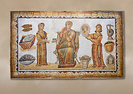 5th century Roman mosaic panel of the ceremonial dressing of a lady. The lady was of the landed gentry from inland Carthage. She is sitting on a high backed armchair and is surrounded by two ornatrix, maids, whoa re helping her to apply make up and style her hair. Items related to bathing and grooming are depicted on the background of the mosaic. The maid hold a mirror for the lady in which we see her reflection The scene is an allegory of the myth of 'Venus at her toilet'.<br /> <br /> From the floor of the changing room of the private baths of the Sidi Ghraib villa, Borj El Amre region, Tunisia. The Bardo Museum, Tunis, Tunisia. .<br /> <br /> If you prefer to buy from our ALAMY PHOTO LIBRARY  Collection visit : https://www.alamy.com/portfolio/paul-williams-funkystock/roman-mosaic.html - Type -   Bardo    - into the LOWER SEARCH WITHIN GALLERY box. Refine search by adding background colour, place, museum etc<br /> <br /> Visit our ROMAN MOSAIC PHOTO COLLECTIONS for more photos to download  as wall art prints https://funkystock.photoshelter.com/gallery-collection/Roman-Mosaics-Art-Pictures-Images/C0000LcfNel7FpLI