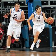 Anadolu Efes's Sasha Vujacıc (R) and Dusko Savanovic (L) during their Turkish Basketball League Play Off match Anadolu Efes between Pinar Karsiyakaat Sinan Erdem Arena in Istanbul, Turkey, Sunday, May 06, 2012. Photo by TURKPIX