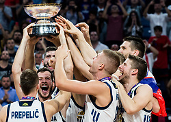 Goran Dragic of Slovenia and other players of Slovenia celebrating at Trophy ceremony after winning during the Final basketball match between National Teams  Slovenia and Serbia at Day 18 of the FIBA EuroBasket 2017 when Slovenia became European Champions 2017, at Sinan Erdem Dome in Istanbul, Turkey on September 17, 2017. Photo by Vid Ponikvar / Sportida