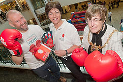 """Lord Mayor of Sheffield Councillor Dr Sylvia Dunkley, British Lung Foundation Support & Development Manager and Dr Rod Lawson Consultant in Respiratory Medicine at Sheffield Teaching Hospitals help to launch of the """"Winning The Fight For Breath  with COPD Campaign"""" in Meadowhall Shopping Centre Sheffield on Saturday 18th February 2012..www.pauldaviddrabble.co.uk..18th February 2012 -  Image © Paul David Drabble"""