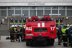 April 4, 2017 - Saint Petersburg, Russia - Police and emergency at metro Sennaya, which was cordoned off because of suspicious object. St. Petersburg, Russia, April 4 , 2017. Russian police continue investigations after 14 people were killed and dozens injured in St Petersburg following explosions between two of the city's underground stations. The suspect is reportedly a native of Kyrgyzstan named as Akbarzhon Jalilov who obtained Russian citizenship, according to the Central Asian country's security service. Authorities in St Petersburg have declared three days of mourning. (Credit Image: © Valya Egorshin/NurPhoto via ZUMA Press)
