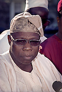 President Olesegun Obasanjo of Nigeria speaks to the media after meeting with President Clinton March 30, 1999 at the White House in Washington D.C.
