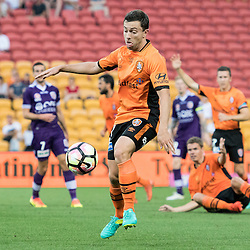 BRISBANE, AUSTRALIA - OCTOBER 30: Tommy Oar of the roar controls the ball during the round 4 Hyundai A-League match between the Brisbane Roar and Perth Glory at Suncorp Stadium on October 30, 2016 in Brisbane, Australia. (Photo by Patrick Kearney/Brisbane Roar)