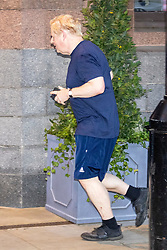 © Licensed to London News Pictures. 06/10/2021. Manchester, UK. Prime Minister Boris Johnson returns from an early morning run ahead of his speech today on the fourth & final day of the Conservative Party Conference in Manchester. Photo credit: Andrew McCaren/LNP