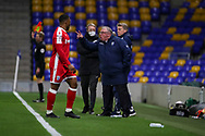 Gillingham FC manager Steve Evans stood on touchline shouting during the EFL Sky Bet League 1 match between AFC Wimbledon and Gillingham at Plough Lane, London, United Kingdom on 23 February 2021.